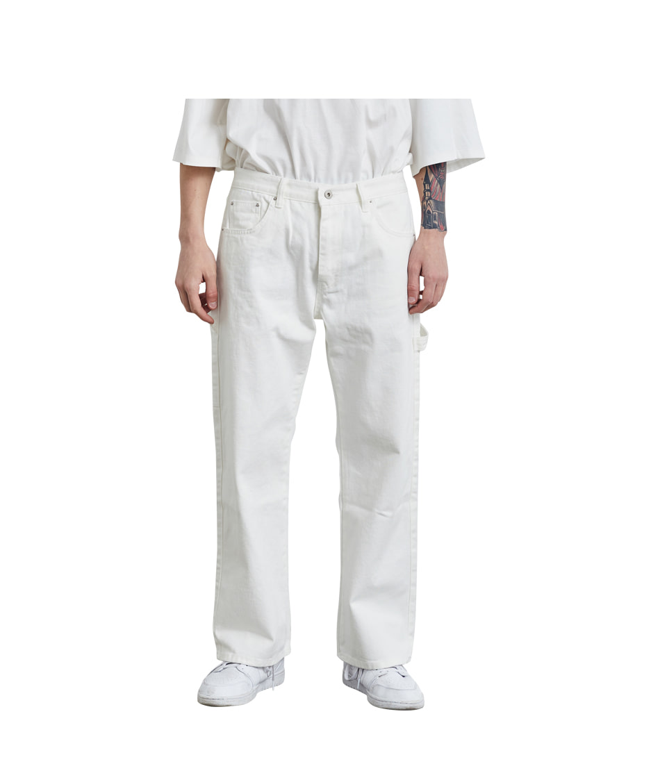 Strap Denim Pants(White)
