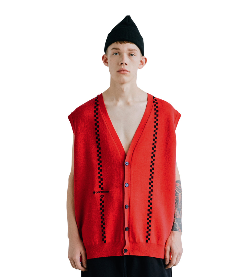 Sportswear Sleeveless Cardigan(Red/Black)