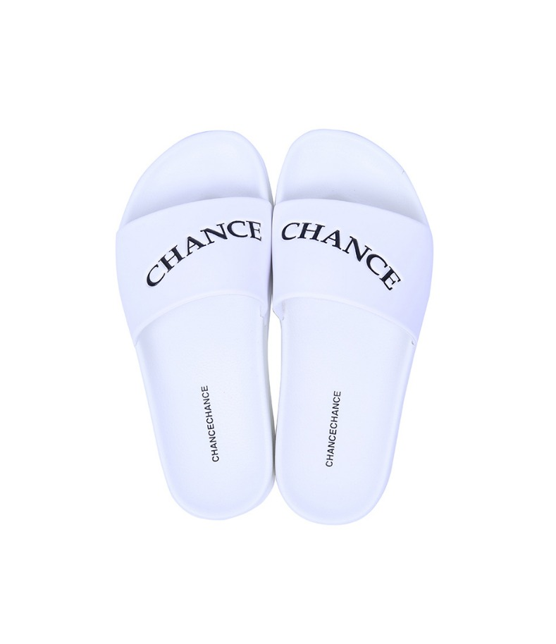 CHANCECHANCE LOGO Slippers(White)