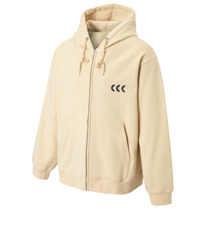 BLACK & PURPLE CEC ZIP-UP HOODIE(IVORY/기모)