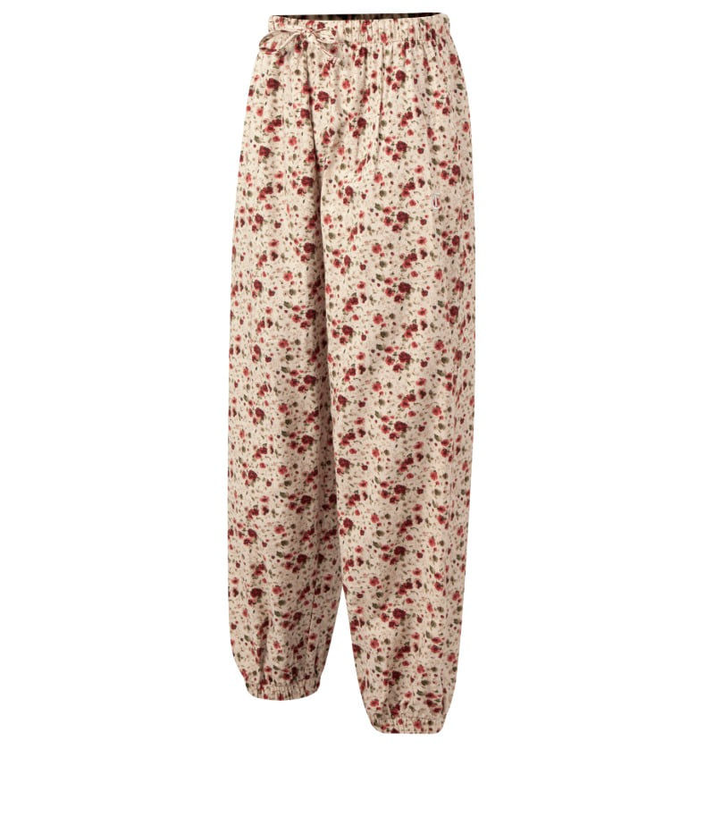 IVORY&RED FLOWER LOUNGE PANTS